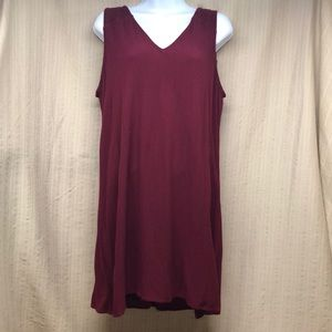 Old Navy Maroon Linen Tank Dress With Lining Lrg